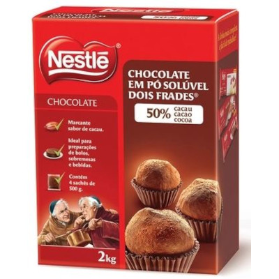 Chocolate em pó Solúvel 50% de Cacau 2kg Nestlé/Dois Frades caixa CX