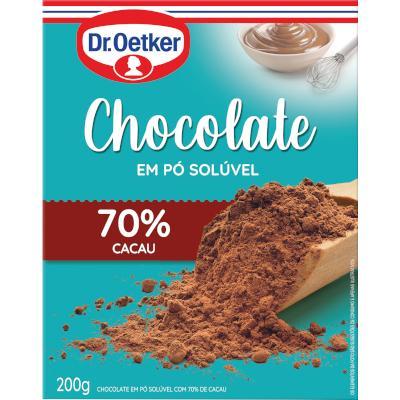 Chocolate em Pó Solúvel 70% Cacau 200g Dr. Oetker caixa CX