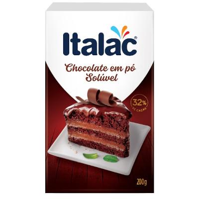 Chocolate em pó solúvel 200g Italac caixa CX