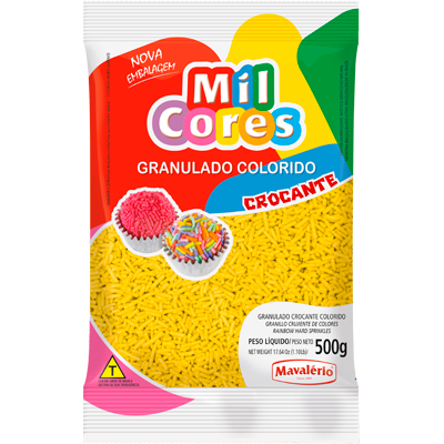 Chocolate Granulado amarelo 500g Mavalerio pacote PCT