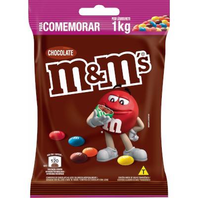 Confeito de Chocolate  1kg M&M's pacote PCT