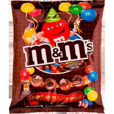 Chocolate M&M's ao leite 1kg M&M's pacote PCT
