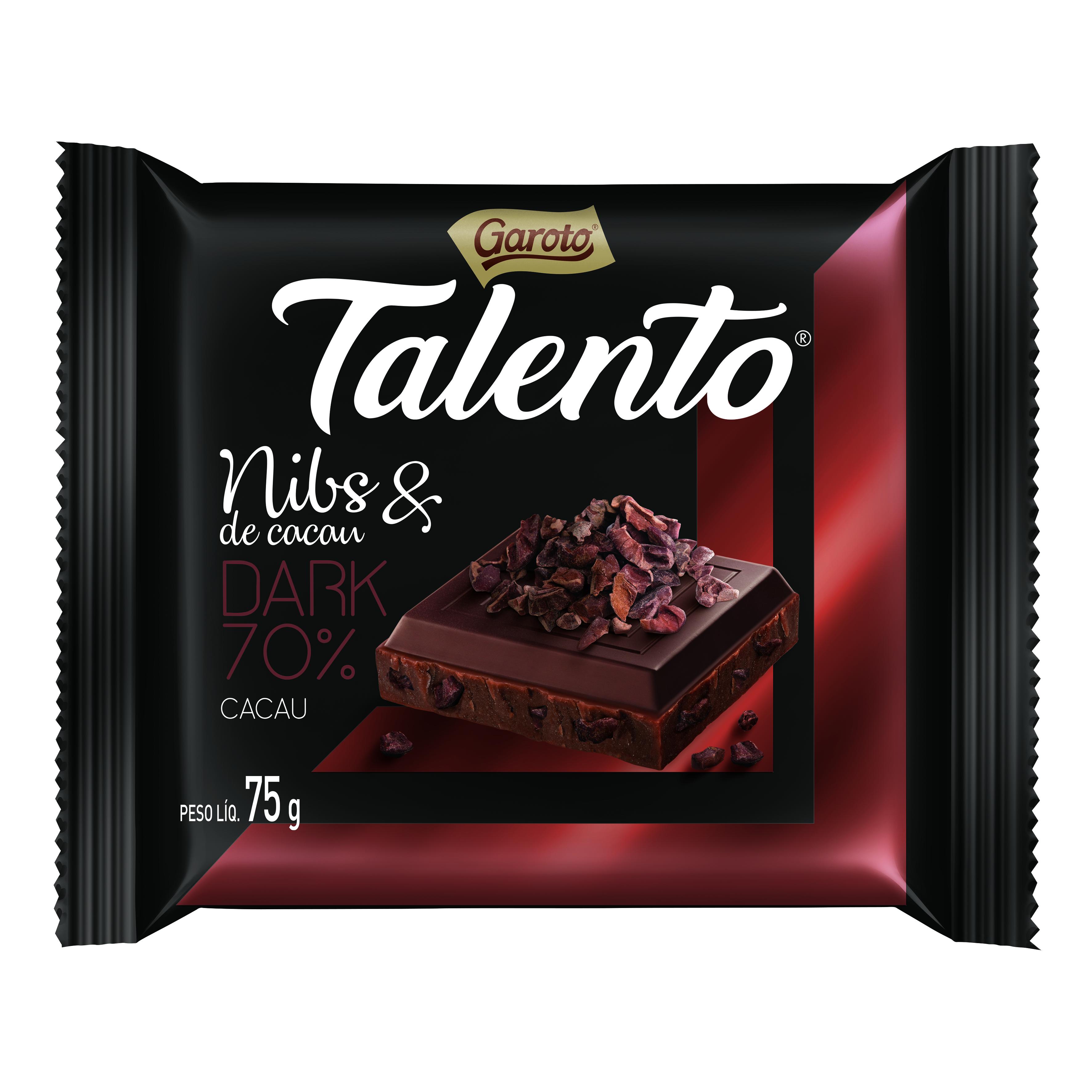 Chocolate Nibs de Cacau & Dark 70% Cacau 75g Garoto/Talento unidade UN