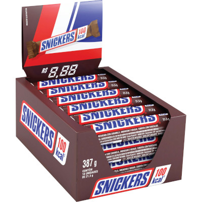 Chocolate Recheado com Amendoim 18 unidades de 21,5g Snickers caixa CX