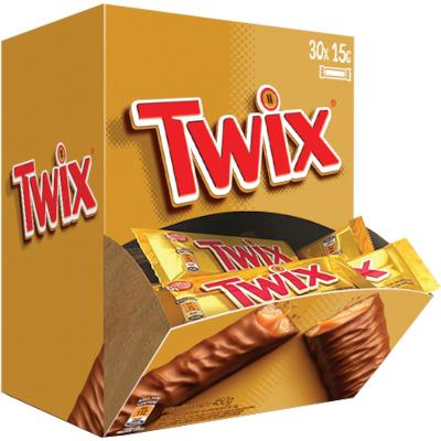 Chocolate recheio caramelo 30 unidades de 15g Twix caixa CX