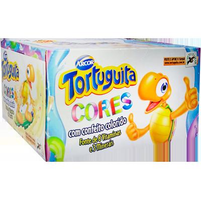 Chocolate recheio confeitos coloridos 24 unidades Tortuguita caixa CX