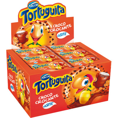Chocolate recheio crocante 24 unidades de 18g Tortuguita caixa UN