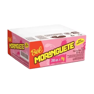 Chocolate recheio de morango 200 unidades de 9g Moranguete caixa CX