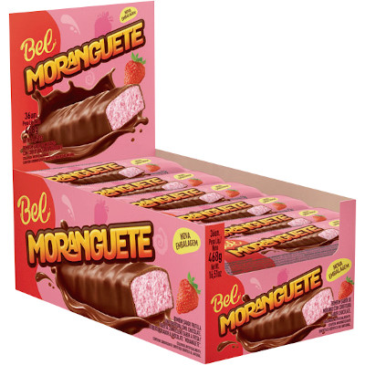 Chocolate recheio de morango 36 unidades de 13g Moranguete caixa CX
