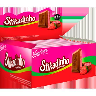 Chocolate recheio morango 12 unidades de 70g Stikadinho caixa CX