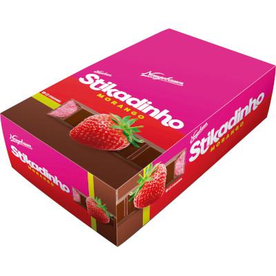 Chocolate recheio morango 32 unidades de 12,3g Stikadinho caixa CX