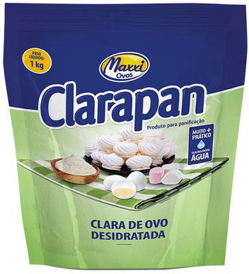 Clara de ovo em pó 1kg Clarapan pacote PCT