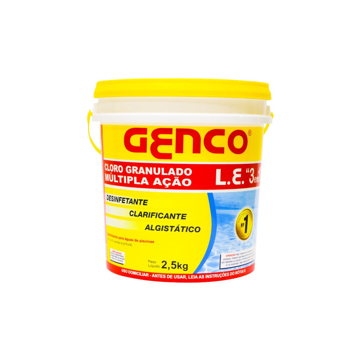 Cloro granulado 3 em 1 2,5kg Genco pacote PCT