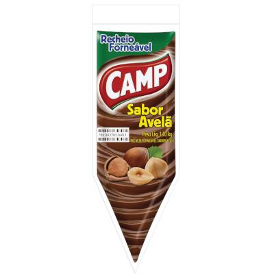 Cobertura e recheio forneável sabor chocolate com avelã 1,01kg Camp bisnaga BIS