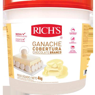 Cobertura e recheio ganache chocolate branco 4kg Richs balde BD