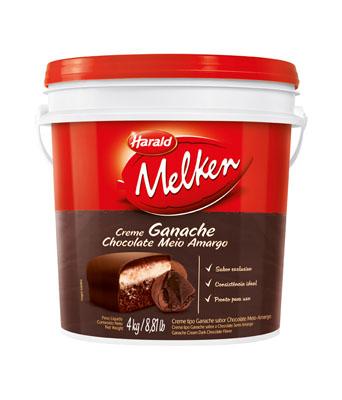Cobertura e Recheio Ganache Sabor Chocolate Meio Amargo 4kg Harald/Melken balde BD