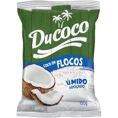 Coco Ralado em flocos 100g Ducoco pacote PCT