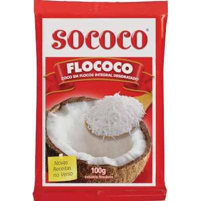 Coco Ralado em flocos 100g Sococo pacote PCT