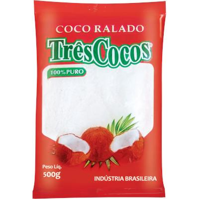 Coco ralado em flocos 500g Três Cocos pacote PCT
