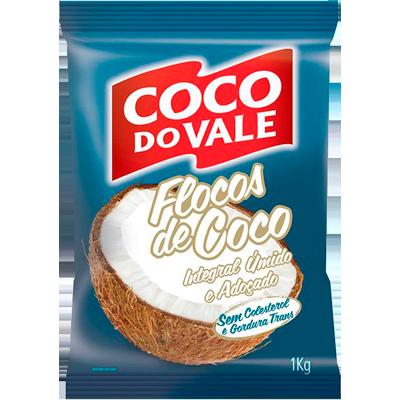 Coco Ralado em Flocos 1kg Coco do Vale pacote PCT