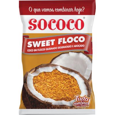 Coco Ralado em flocos queimado 1kg Sococo/Sweet Coco pacote PCT