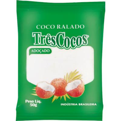 Coco ralado Adoçado 50g Três Cocos pacote PCT