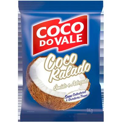 Coco ralado úmido e adoçado 1kg Coco do Vale pacote PCT