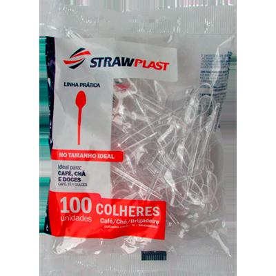 Colher descartável docinho cristal 100 unidades Strawplast pacote PCT