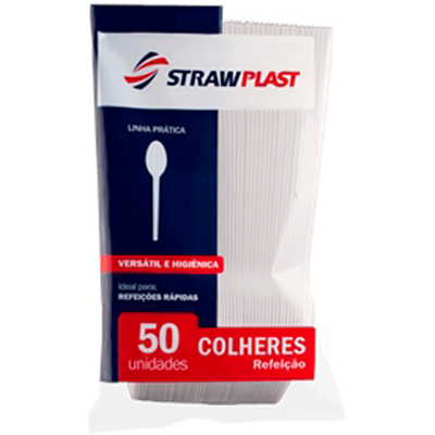 Colher descartável refeição cristal 50 unidades Strawplast pacote PCT