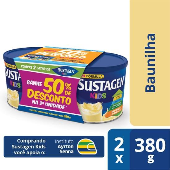 Complemento Alimentar Sabor Baunilha Embalagem Promocional 02 latas de 380g Sustagen/Kids pacote PCT
