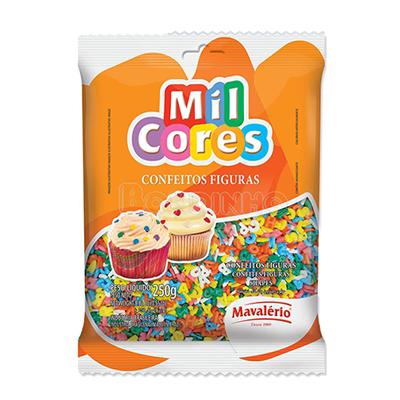 Confeitos alfabeto 250g Mil Cores/Mavalerio pacote PCT