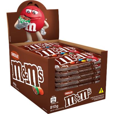 Confeitos chocolate 18 unidades de 45 M&M's caixa CX