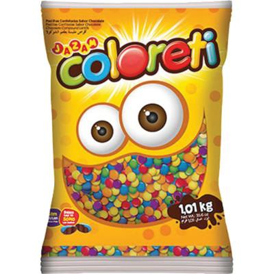 Confeitos de chocolate 1,01kg Jazam/Coloreti pacote PCT