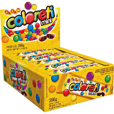 Confeitos de mini chocolate 36 unidades de 11g Jazam/Coloreti Mini caixa UN