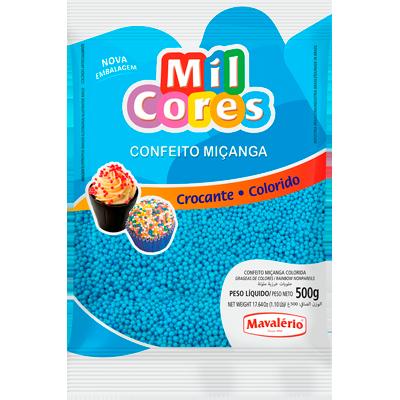 Confeitos miçanga azul 500g Mil Cores/Mavalerio pacote PCT