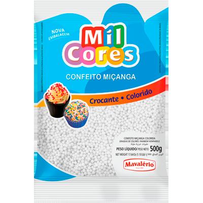 Confeitos miçanga branco 500g Mil Cores/Mavalerio pacote PCT