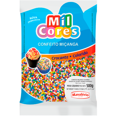 Confeitos miçanga colorida 500g Mil Cores/Mavalerio pacote PCT