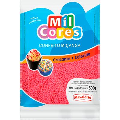 Confeitos miçanga rosa 500g Mil Cores/Mavalerio pacote PCT