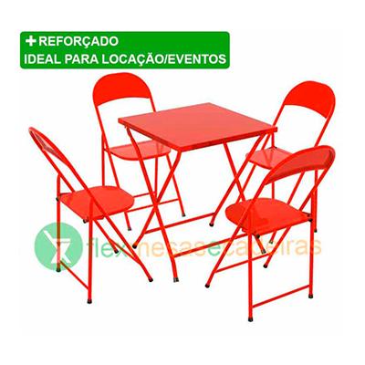 Conjunto de Mesa dobrável de aço - Vermelho 01 mesa e 04 cadeiras Flex mesas e cadeiras  UN