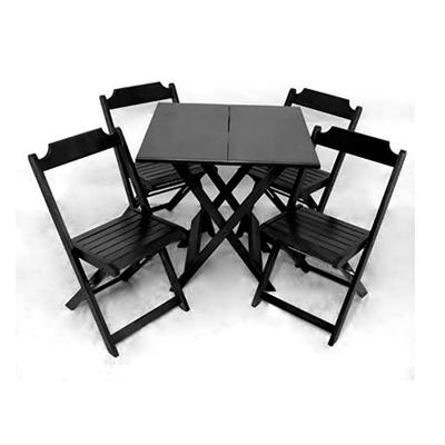 Conjunto de Mesa dobrável de madeira 70 x 70cm - Preta 01 mesa e 04 cadeiras dobravéis Flex mesas e cadeiras  UN