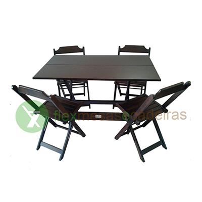 Conjunto de Mesa dobrável tipo bar 120 x 70cm 01 mesa e 04 cadeiras dobravéis Flex mesas e cadeiras  UN