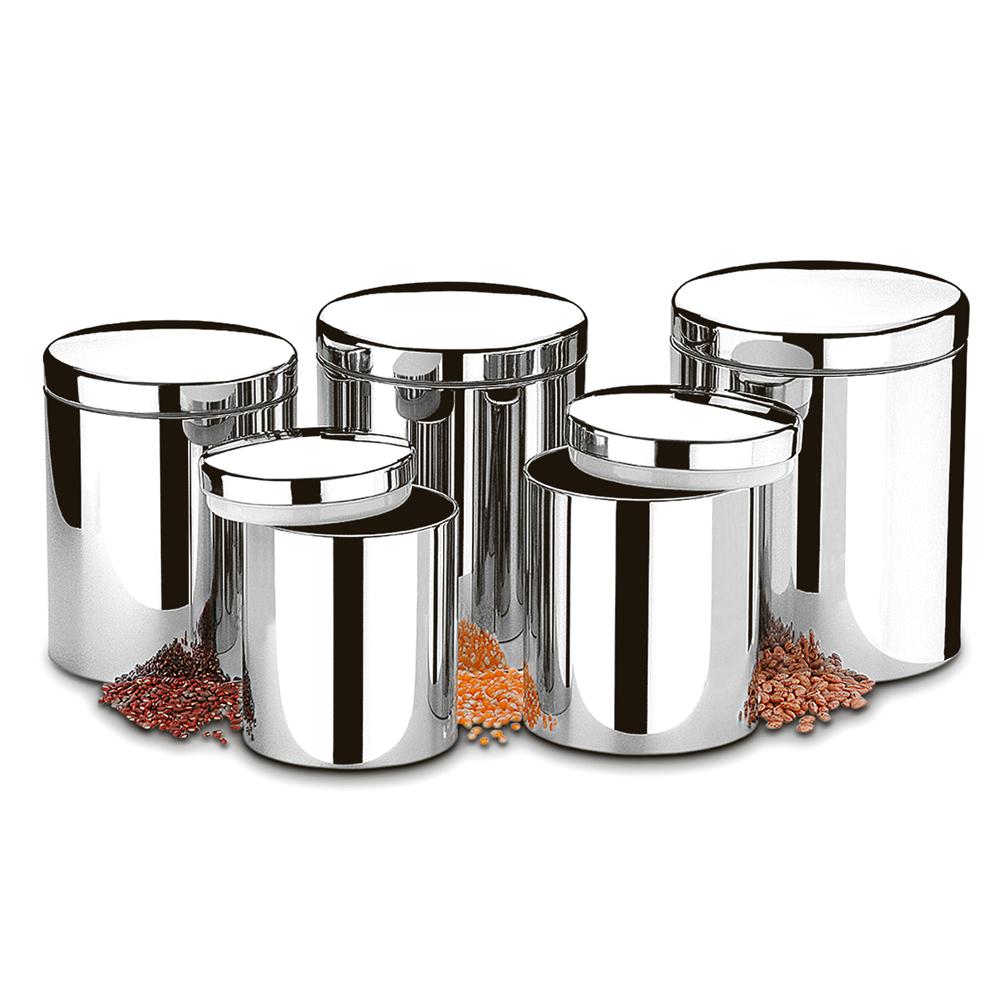 Conjunto de Potes  Aço Inox para Mantimentos com Tampa Suprema 5 unidades Brinox  UN