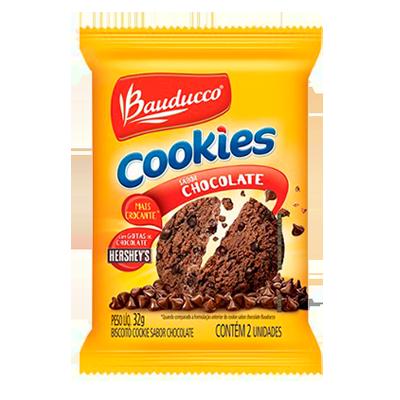 Cookies sabor chocolate 14 unidades de 32g Bauducco caixa CX