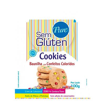 Cookies sem glúten baunilha c/ confeitos coloridos 100g Pure s/ Glúten pacote UN