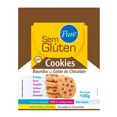 Cookies sem glúten e sem lactose 5 grãos baunilha com gotas de chocolate 100g Pure s/ Glúten pacote UN