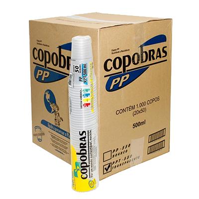 Copo Descartável Branco 500ml 50 unidades Copobras pacote PCT