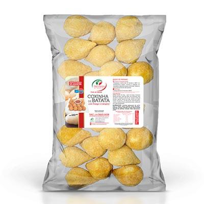 Coxinha de frango e catupiry com massa de batata congelada 25g por kg Trevisan pacote KG