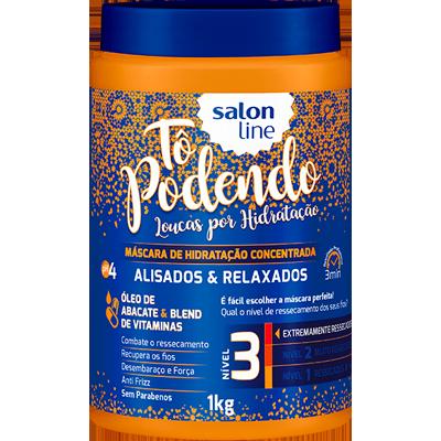 Creme de Tratamento de Cabelos alisados e relaxados 1kg Tô Podendo/Salon Line pote POTE