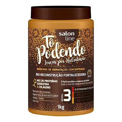 Creme de Tratamento de Cabelos bio reconstrução fortalecedora NV3 1kg Tô Podendo/Salon Line pote POTE