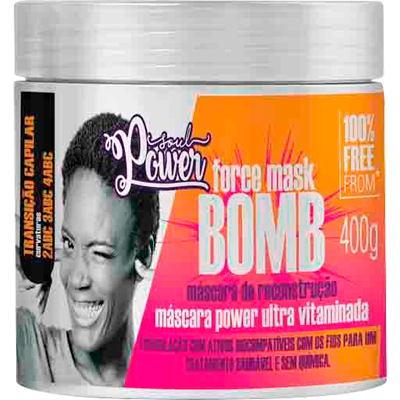 Creme de Tratamento de Cabelos Bomba Force 400g Soul Power pote POTE
